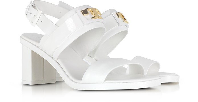 309cfadb9e8e25 Tory Burch Gigi White Leather Two Band Mid-Heel Sandals 10 US at ...