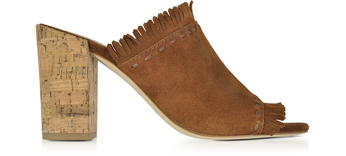 Huntington Festival Brown Suede High Heel Mules w/Fringes - Tory Burch