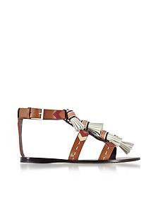 Weaver Multi Tan and Light Almond Leather Flat Sandals w/Tassels - Tory Burch
