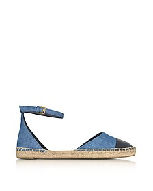Color Block Denim and Leather Ankle Strap Espadrilles - Tory Burch
