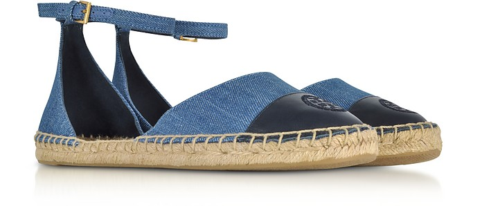 67362035e6f Color Block Denim and Leather Ankle Strap Espadrilles - Tory Burch. Sold Out
