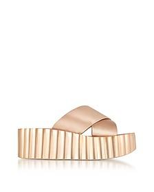 Bellini Blush Satin Scallop Wedge Slide Sandals - Tory Burch