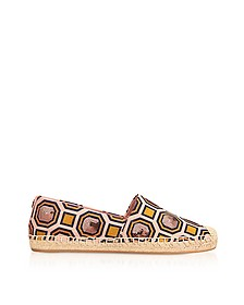 Cecily Ballet Pink Octagon Square Canvas Embellished Flat Espadrilles - Tory Burch