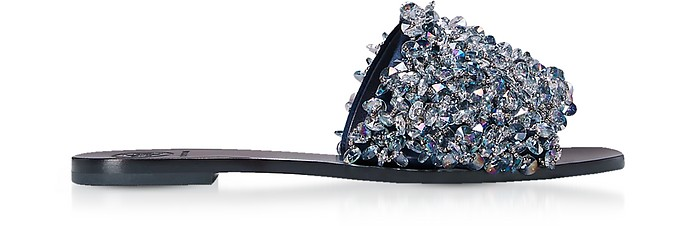 Logan Perfect Navy Satin Slide Sandals w/Gray Blue Crystals Tory Burch 6 (36 EU) Azr6r19frK