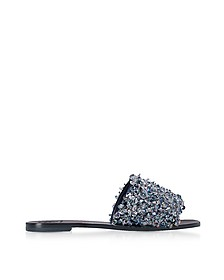 Logan Perfect Navy Satin Slide Sandals w/Gray Blue Crystals - Tory Burch