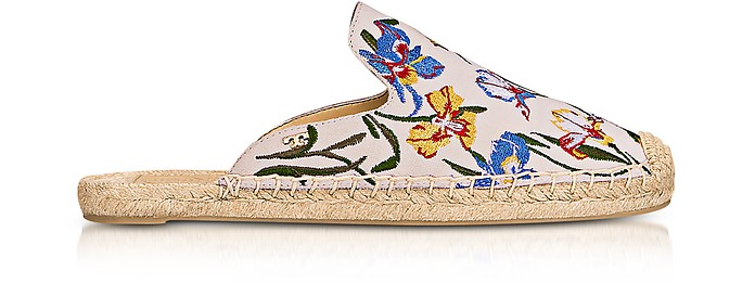 Max New Ivory/Painted Iris Embroidered Slide Espadrilles - Tory Burch