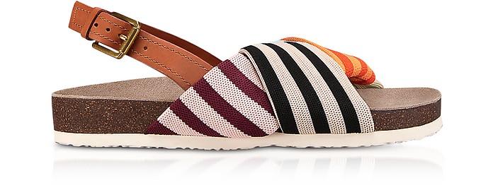 Corey Multi Patchwork Stripe Tech Knit Fabric and Leather Flatform Sandals - Tory Burch