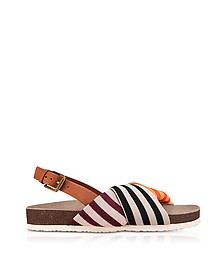 Corey Multi Patchwork Stripe Tech Knit Fabric and Leather Platform Sandals - Tory Burch