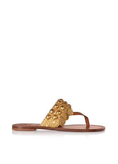 Tan Leather Patos Coin Sandals - Tory Burch