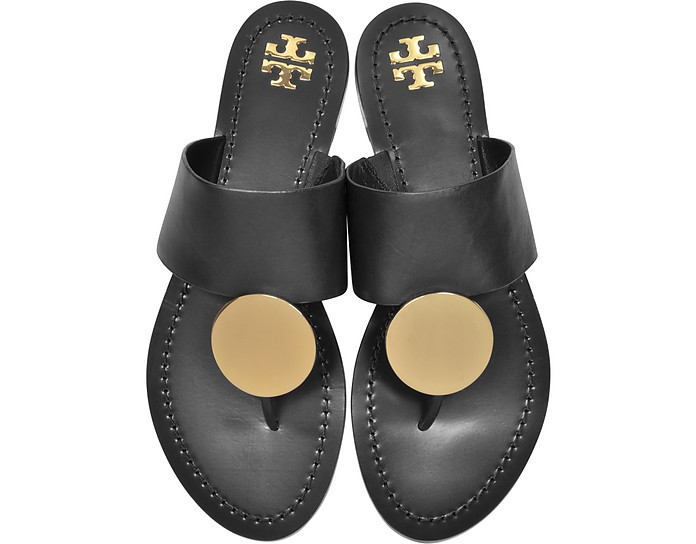 Black Leather Patos Disc Sandals - Tory Burch