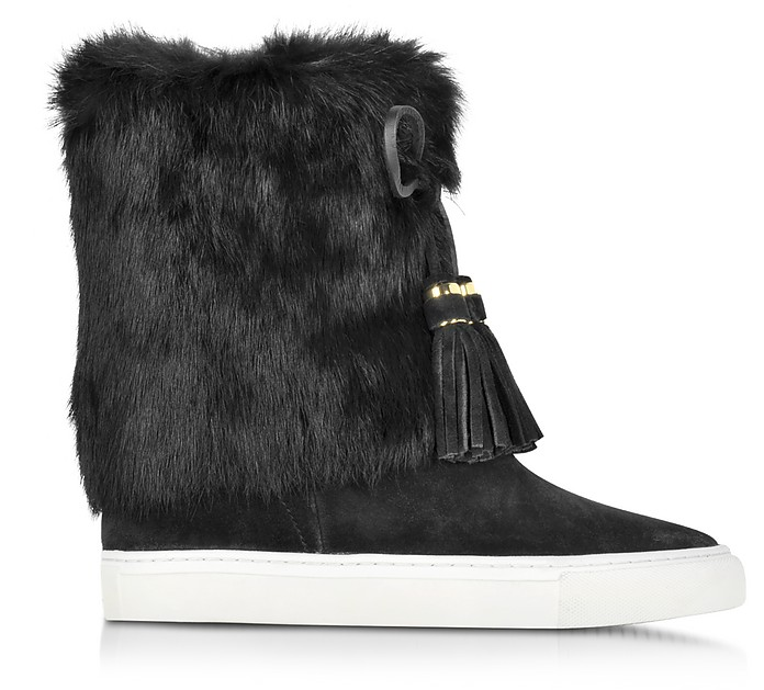Anjelica Black Suede and Rabbit Fur Boots - Tory Burch / トリー バーチ