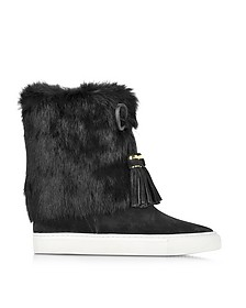 Anjelica Black Suede and Rabbit Fur Boots - Tory Burch