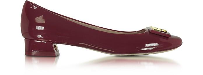 e1bb002ff Tory Burch Gigi Burgundy Patent Leather Mid-heel Pump 5 US at FORZIERI