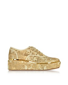 Arden Beige and Gold Embroidered Brocade Platform Oxford Shoes - Tory Burch