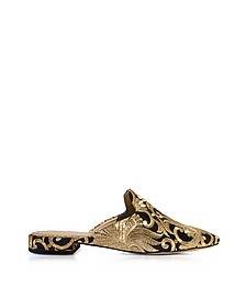 Carlotta Black and Gold Embroidered Brocade Mules - Tory Burch