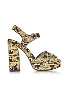 Loretta Black and Gold Embroidered Brocade Platform Sandals - Tory Burch