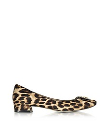 Gigi Natural Leopard Print Leather Mid-heel Pumps - Tory Burch