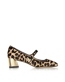 Marisa Natural Leopard Print and Black Leather Mary Jane  Pumps - Tory Burch