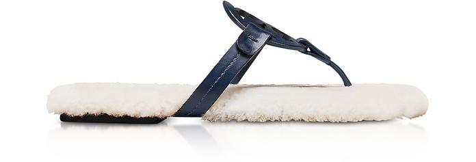 e04a448ded102e Perfect Navy Shearling Miller Flip Flop w Metal Logo - Tory Burch. 60% Off
