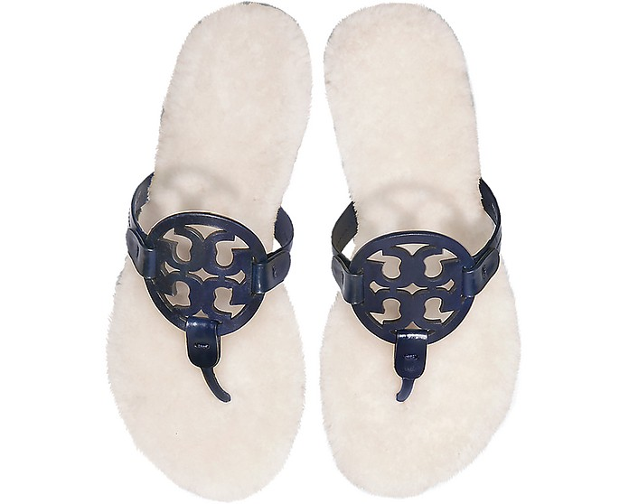 Tory Burch Designer Shoes, Perfect Navy Shearling Miller Flip Flop w/Metal Logo