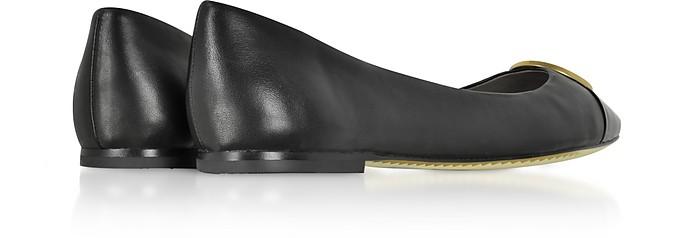 8146677e4ca36d Tory Burch Black Nappa   Patent Leather Chelsea Cap-Toe Ballet Flats ...