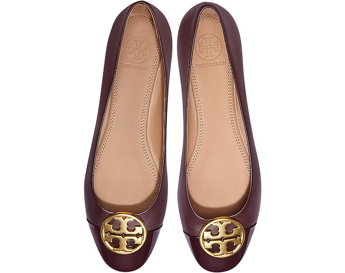 6d2f86108 Burgundy Nappa   Patent Leather Chelsea Cap-Toe Ballet Flats - Tory Burch