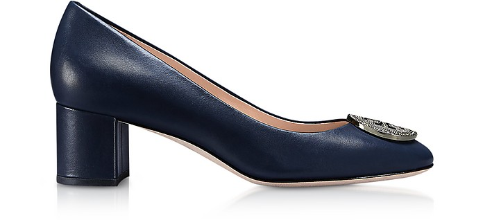 Perfect Navy Nappa Leather 45MM Liana Pumps - Tory Burch