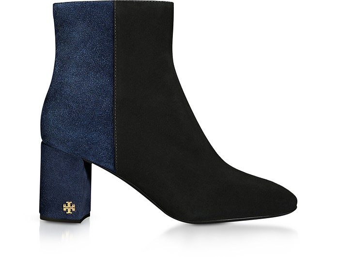 Perfect Black and Navy Brooke 70MM Booties - Tory Burch