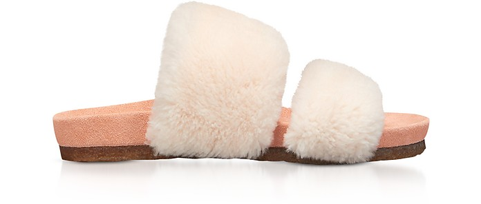 Sheldon Shearling Two-Band Slide Sandals - Tory Burch