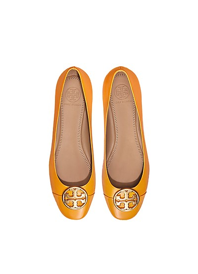 Goldenrod Nappa & Patent Leather Chelsea Cap-Toe Ballet Flats - Tory Burch
