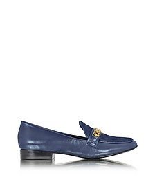 Gemini Link Royal Navy Leather and Haircalf Loafer - Tory Burch