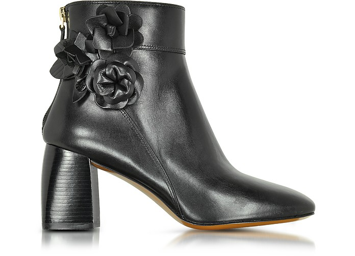 Blossom Black Leather Bootie - Tory Burch