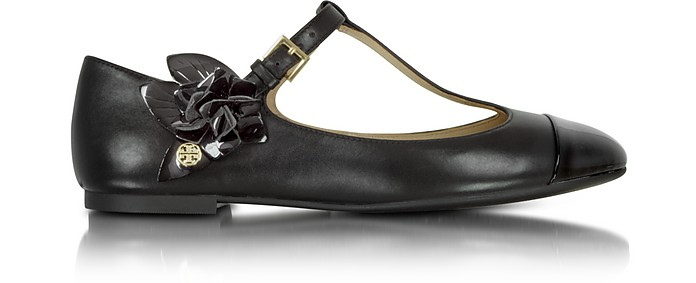 1cc8bc865b61 Tory Burch Blossom T-Strap Flat Leather Ballerina 11 US at FORZIERI ...