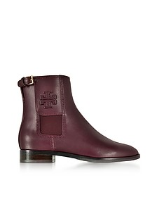 Wyatt Maroon Leather Bootie - Tory Burch