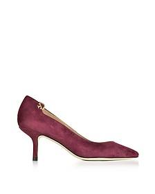 Elizabeth 酒红色麂皮Mi-Heel高跟鞋 - Tory Burch