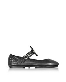 Minnie Two Way Black/Clear Nappa Leather Ballet Flats - Tory Burch