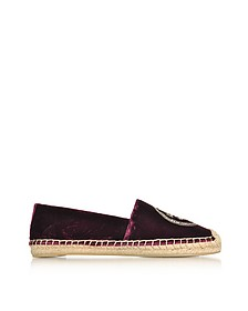 Espadillas in Velluto Bordeaux con Logo - Tory Burch