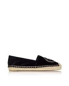 Black Velvet Chain Espadrille - Tory Burch
