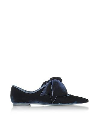 Clara Flat Blue Velvet and Grossgrain Ballerina - Tory Burch