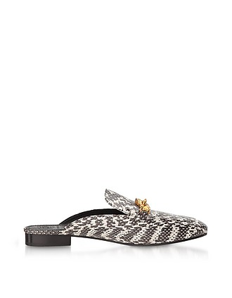 5597f60b720de8 Black and White Roccia Embossed Leather Jessa Backless Loafer - Tory Burch