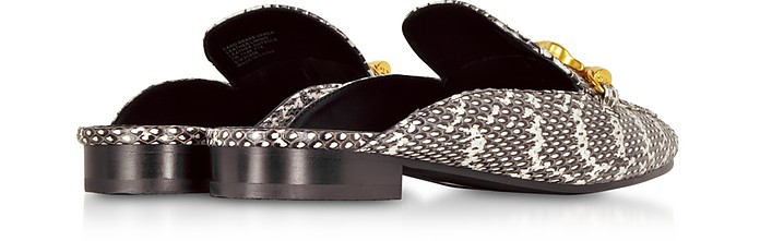f8cd62c8a Black and White Roccia Embossed Leather Jessa Backless Loafer - Tory Burch.   244.50  489.00 Actual transaction amount