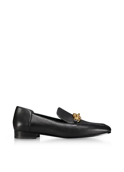 Perfect Black Leather Jessa Loafers - Tory Burch