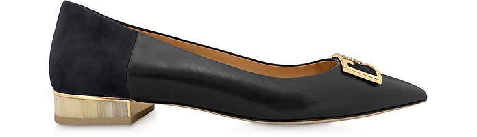 Perfet Black Gigi 20mm Pointy Toe Flat Ballerinas - Tory Burch