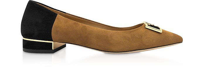 Dark Tiramisu Gigi 20mm Pointy Toe Flat Ballerinas - Tory Burch