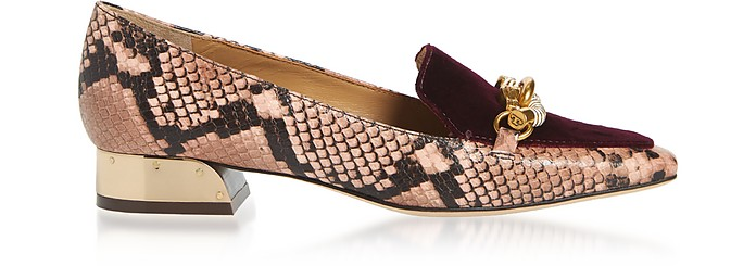Blush and Black Cherry Jessa 25MM Loafers - Tory Burch