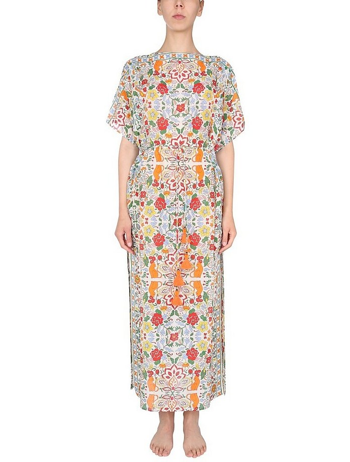 Mixed Silk With Multicolor Pattern Caftan - Tory Burch