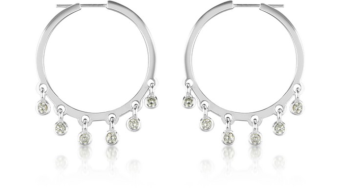 1.40 ctw White Gold Diamond Dangle Earrings - Colucci Diamonds