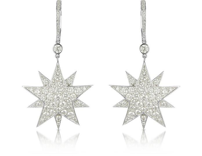 3.73 ctw White Gold Diamond Star Earrings - Colucci Diamonds