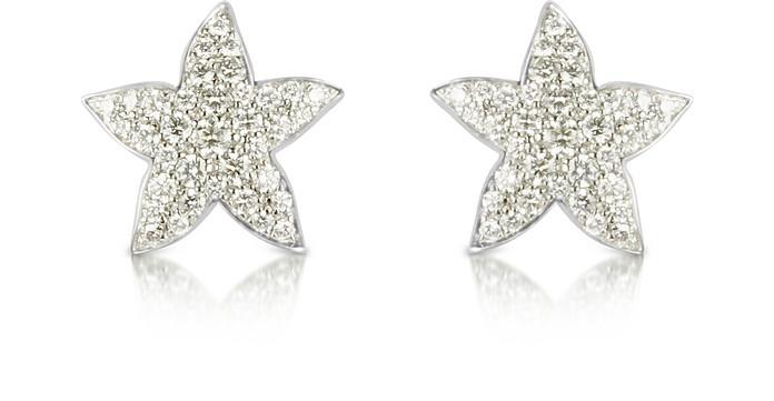 1.36 ctw White Gold Diamond Starfish Earrings - Colucci Diamonds