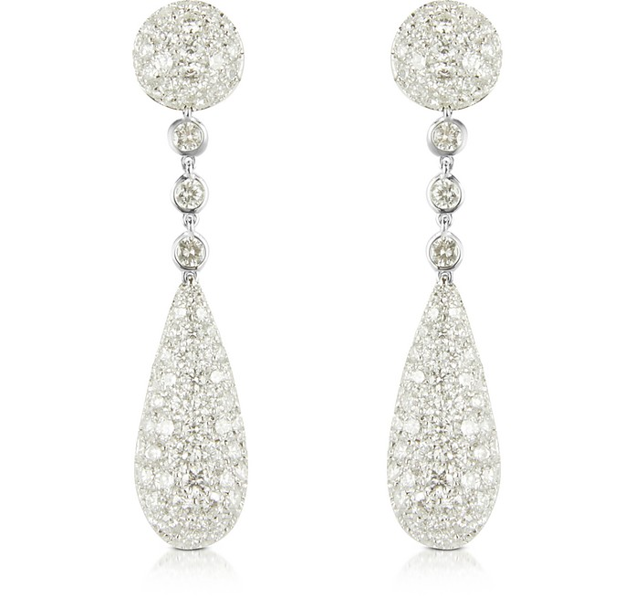 12.11 ctw White Gold Diamond Drop Earrings - Colucci Diamonds
